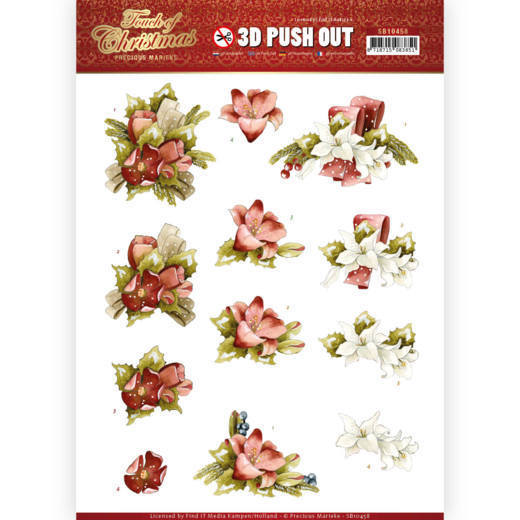 3-D push out - Touch of Christmas - Red flowers