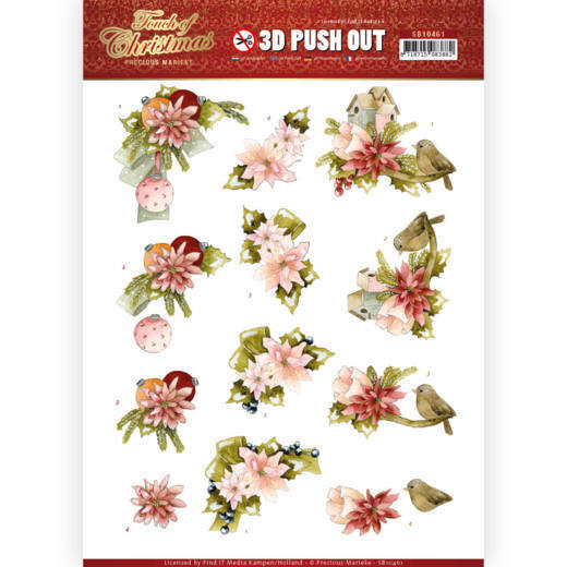 3-D push out - Touch of Christmas - Pink flowers