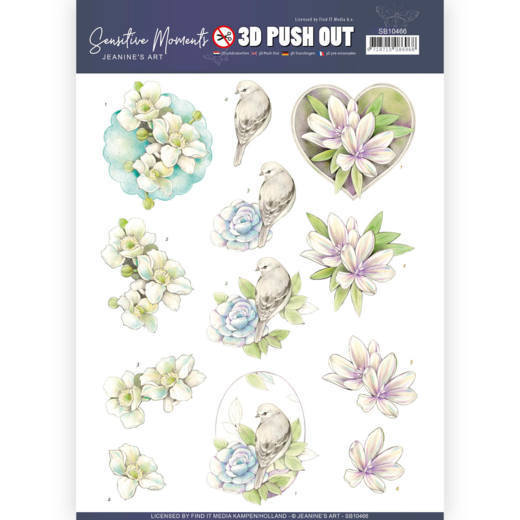 3D Push Out - Jeanine's Art - Sensitive Moments - Rose