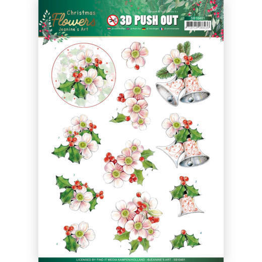 3D Push Out - Jeanines Art Christmas Flowers - Pink Christmas Flowers