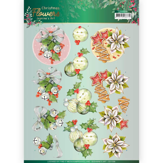 3D cutting sheet - Jeanines Art Christmas Flowers - Christmas Bells