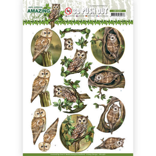 3D Push Out - Amy Design - Amazing Owls - Forest Owls