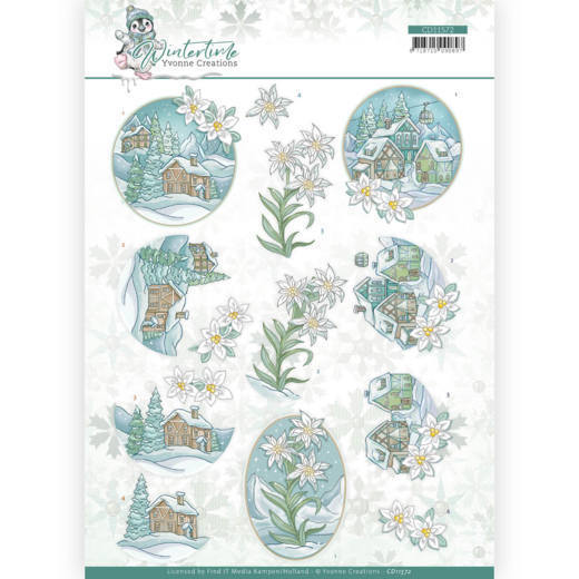 3D cutting sheet - Yvonne Creations - Winter Time - Edelweiss