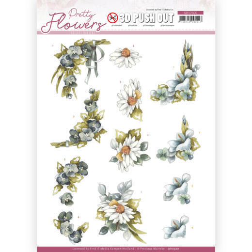 3D Push Out - Precious Marieke - Pretty Flowers - Blue Flowers