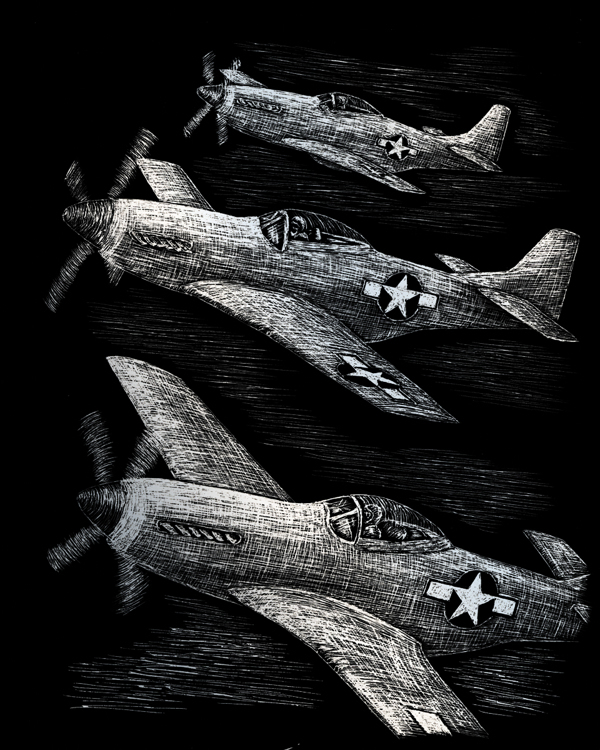SILVER ENGRAVING FIGHTER PLANE